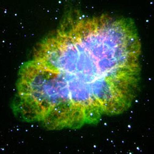 Crab nebula containing heavier elements in the universe