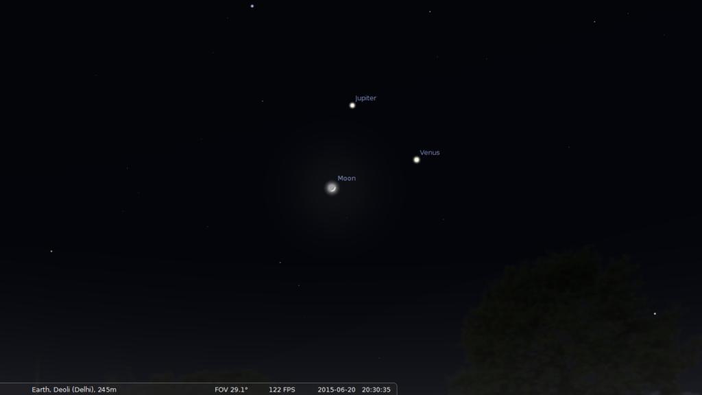 Triple conjunction of Jupiter, Venus and Moon