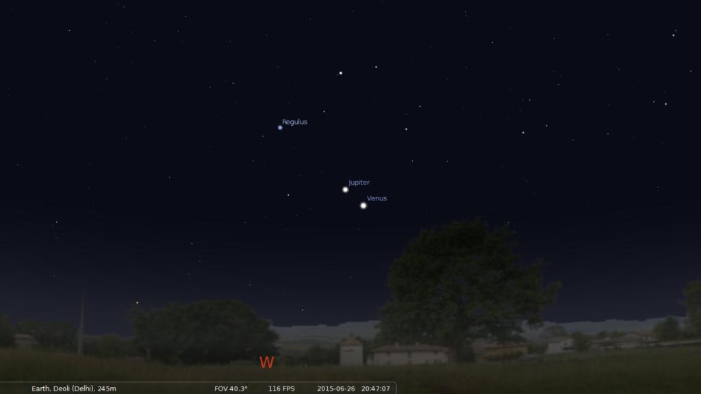 Venus and Jupiter on 26 June 2015