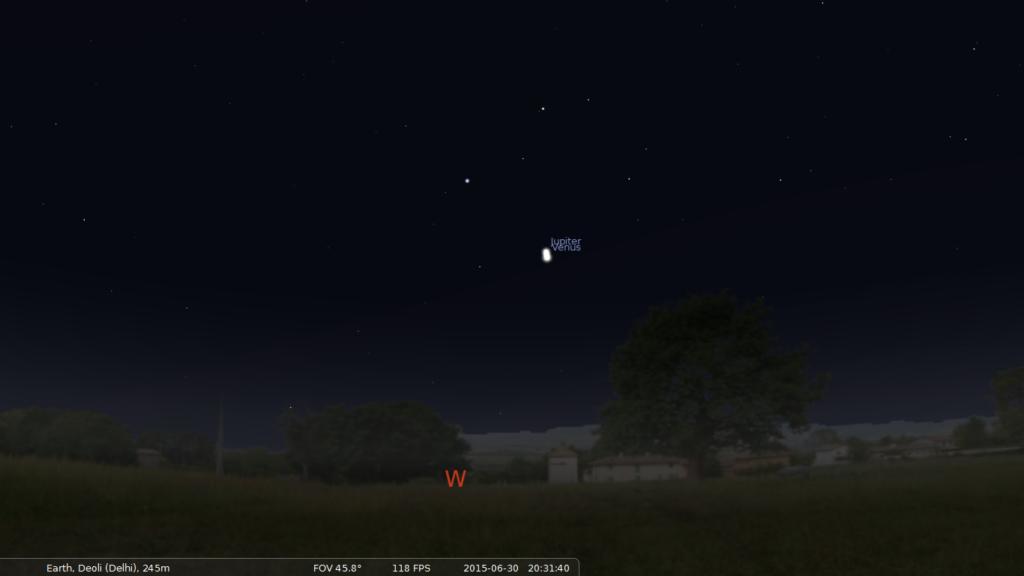 Venus Jupiter Conjunction on 30th June 2015